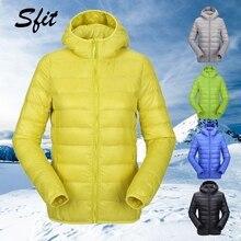 Sfit зима женская короткая парка Теплая тонкая короткая стеганая хлопковая куртка с карманами пальто с капюшоном однотонный легкий пуховик