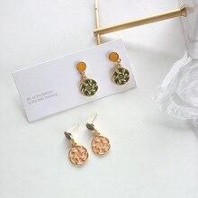 Fashion Statement Earrings Texture Enamel Earrings For Women Hanging Dangle Earrings Drop Earring modern Jewelry Gifts fashion statement earrings 2019 round wood fan drop earrings women hanging dangle earrings modern jewelry gifts for female