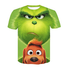 2021 Cartoon Grinch movie 3D printing men's and women's short-sleeved casual T-shirt high-quality hip-hop fashion round neck T-s