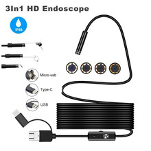 Endoscopio de 8,0mm HD cámara USB tipo c endoscopio con 8 LED 1/2/5M Cable boroscopio de inspección impermeable para ordenador Android 3in1(China)