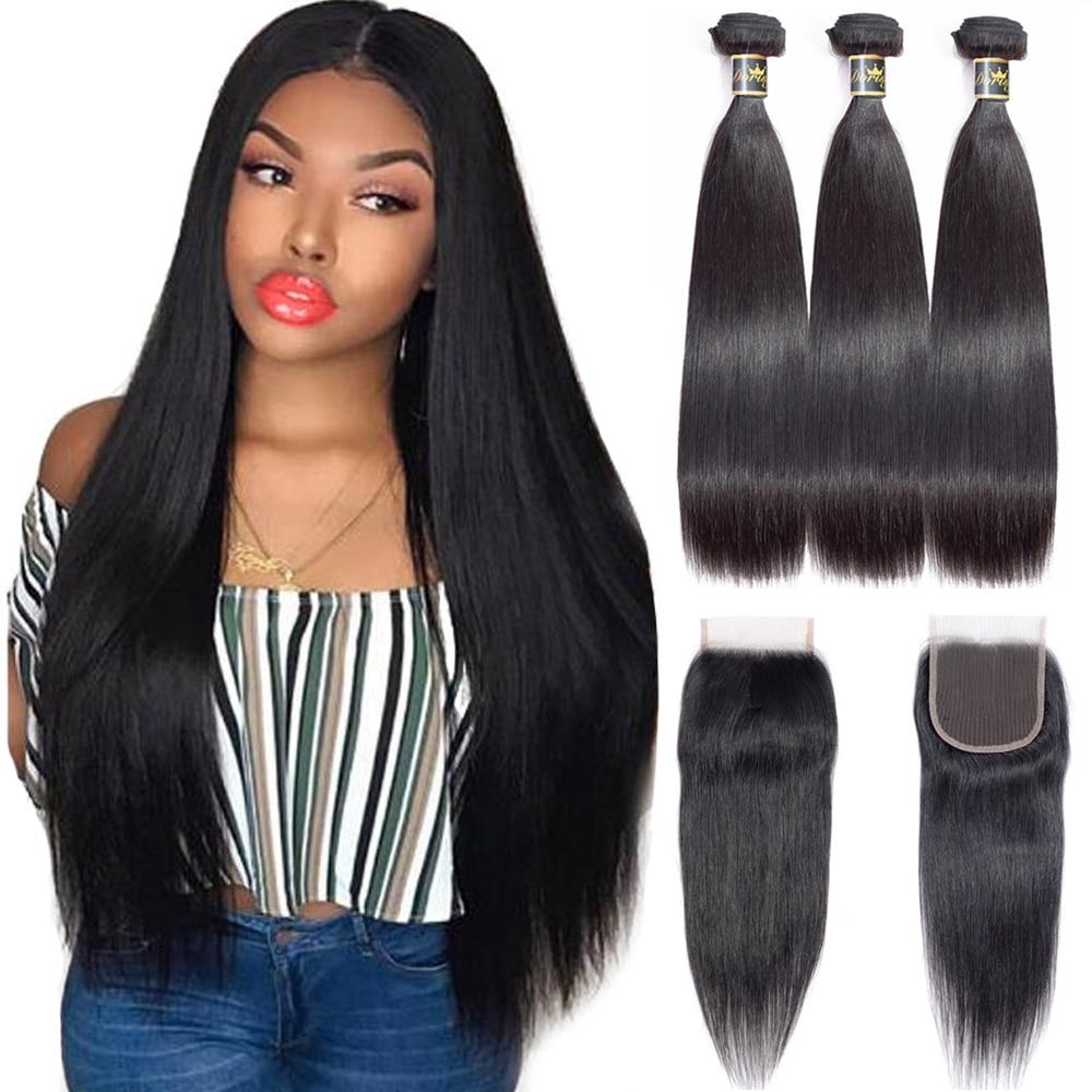 Straight Bundles With Closure Brazilian Hair Bundles With Closure Lace Closure With Human Hair Bundles Dorisy Hair Extensions