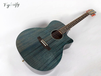 40inch hand polish vintage blue color full mahogany acoustic guitar with free case