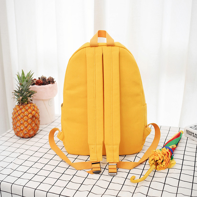 2019 High Quality Canvas Printed Heart Yellow Backpack Korean Style Students Travel Bag Girls School Bag Laptop Backpack NA 56 in Backpacks from Luggage Bags