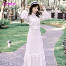 2019 autumn new Japanese style long white heavy temperament openwork lace dress Lantern Sleeve