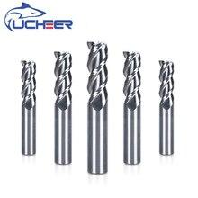 UCHEER 1 шт. 3 флейты 1-20 мм твердосплавная Концевая фреза для резки AL Фрезерный резак с ЧПУ вольфрамовый стальной роутер биты станок с ЧПУ