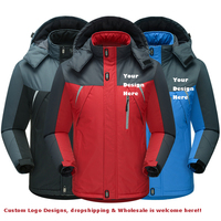 2019 Men Winter Waterproof Windbreaker Jackets Thicken Outwear Coats Hoodies Parkas Anti Cold Warmer Custom DIY Design Outdoor C