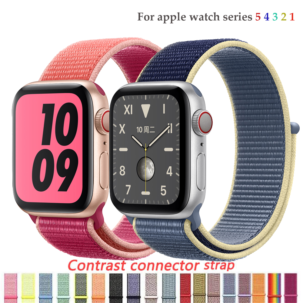 Nylon Strap For Apple Watch Band 4/5 44mm/40mm Correa Apple Watch 3 42mm/38mm Iwatch Series 5/4/3/2 Colorful Connector Watchband