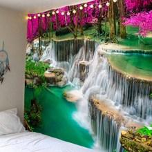 WOSTAR Bohemian 3D Beach Towel Waterfall Landscape Beautiful Forest Stream Printing Wall Carpet Yoga Mat wall art Decor Tapestry недорого
