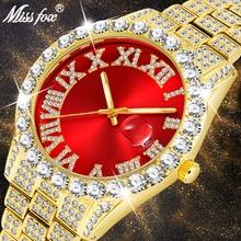 Red Watch Diamond MISSFOX 18k Gold Top-Brand Waterproof Modern Luxury Analog Quartz Men
