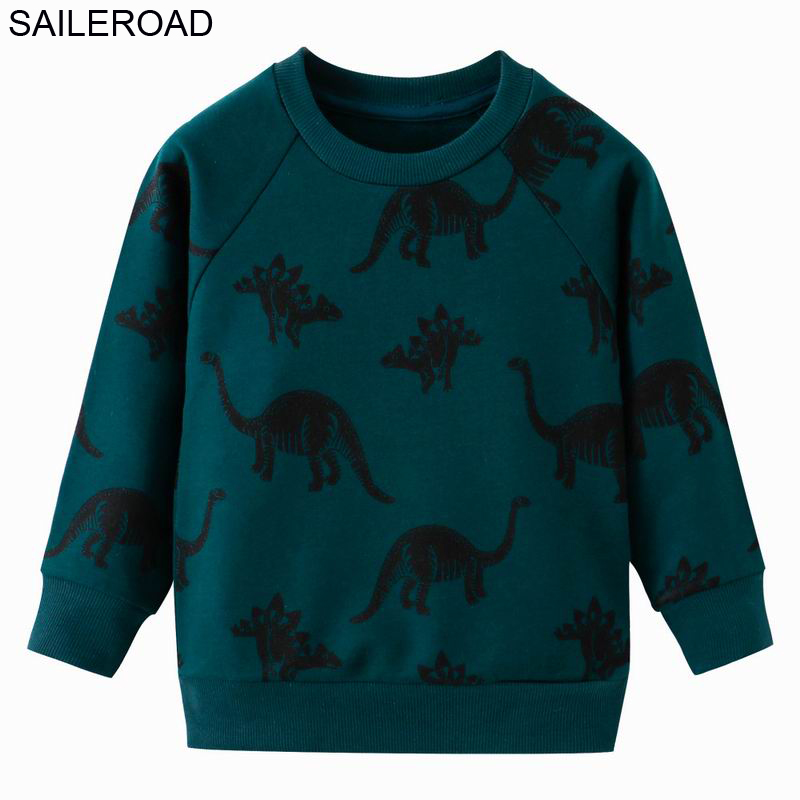 SAILEROAD Autumn Kids Sweatshirts Dinosaur Toddler Kid Baby Girl Boy Clothes Long Sleeve Cartoon Printed T-shirt Tops 1