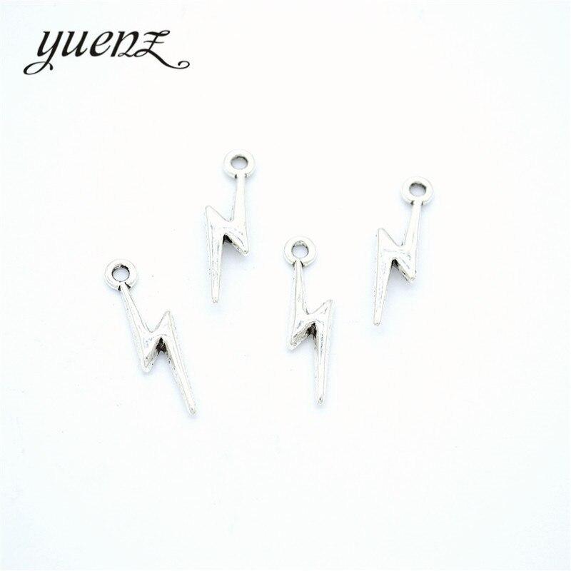 YuenZ 40 шт. новый продукт античный серебряный цвет молния Подвеска ювелирные изделия металлический сплав ювелирные изделия Маркировка 20*5 мм ...
