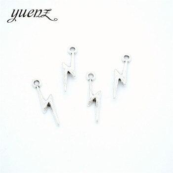 YuenZ 40 шт новый продукт античный серебряный цвет молния подвески ювелирные изделия металлический сплав ювелирные изделия Маркировка 20*5 мм ...