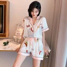 Женщины пижама комплекты шелк атлас пижама отложной воротник одежда для сна леди короткий рукав лето ночное белье Femme 2 части домашняя одежда
