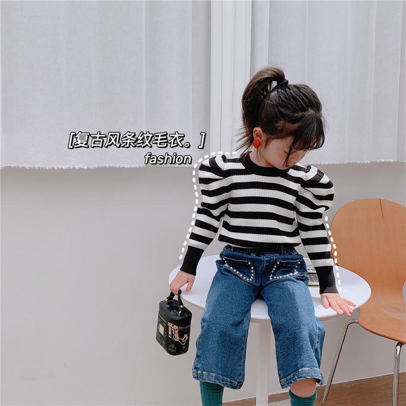 19.0US $  Girls O neck Sweater 2020 Autumn New Princess Sleeve Striped Knit Low Waist Jersey Baby Gi...