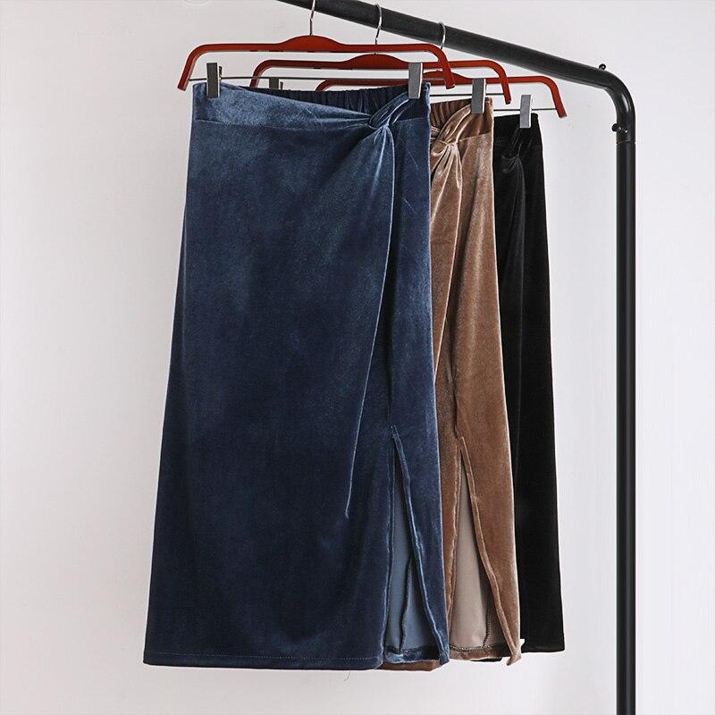 Winter Autumn Skirts Womens Velvet Split Long Skirt Stretched High Waist Bow Knot Faldas Mujer Moda 2019 Midi Skirt