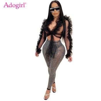 цена на Adogirl Ruffle Sheer Mesh Crop Top Shirt Front Tie Long Sleeve Short Blouse 2020 New Summer Beach Cover Night Club Tops