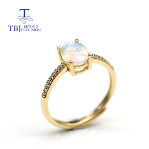 Image 5 - Simple  Opal women Ring Natural Ethiopia oval 6*8mm 1carat gemstone 925 Sterling silver  yellow gold fine jewelry tbj promotion