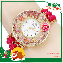 Net Red Full of Crystals Rose WOMEN'S Creative Watch Beautifully Woven Drawstring Chain WOMEN'S Watch Wholesale(China)