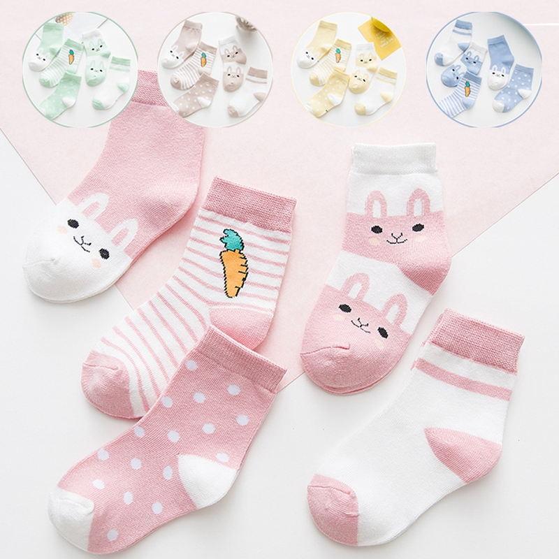 5 Pairs/Lot Cotton Kids Socks Breathable Cartoon Rabbit Carrot Cute Baby Boys Girls Socks For 0-9 Years