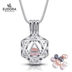 EUDORA Natural Oyster Wish Pearl Pendant star hollow cage Charm Necklace Gift Box Popular Women DIY Jewelry birthday Gift K250