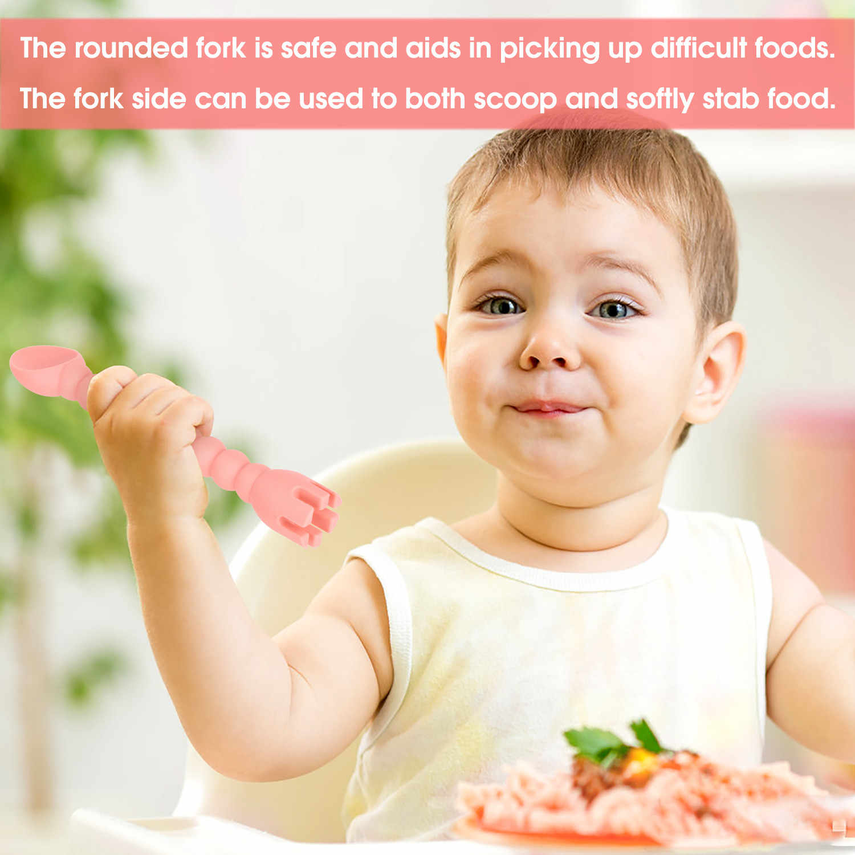Cutie ซิลิโคนช้อนส้อมเด็ก 2-In-1 Self-Feeding เด็กช้อนเครื่องมือห้องครัว
