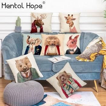 Diseño de perro funda de cojín decorativa cuadrada decoración del hogar gato impreso lanzar tejido de lino para funda de almohada de algodón funda de almohada