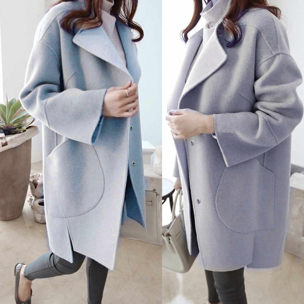 2019  Winter Warm Women Woolen Coat Trench Parka Jacket Casual Overcoat Outwear Windproof Overcoats abrigos mujer invierno 2019