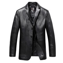 fat big size leather leather clothing men's plus fat big leather suit fat man spring and autumn sheep leather jacket(China)