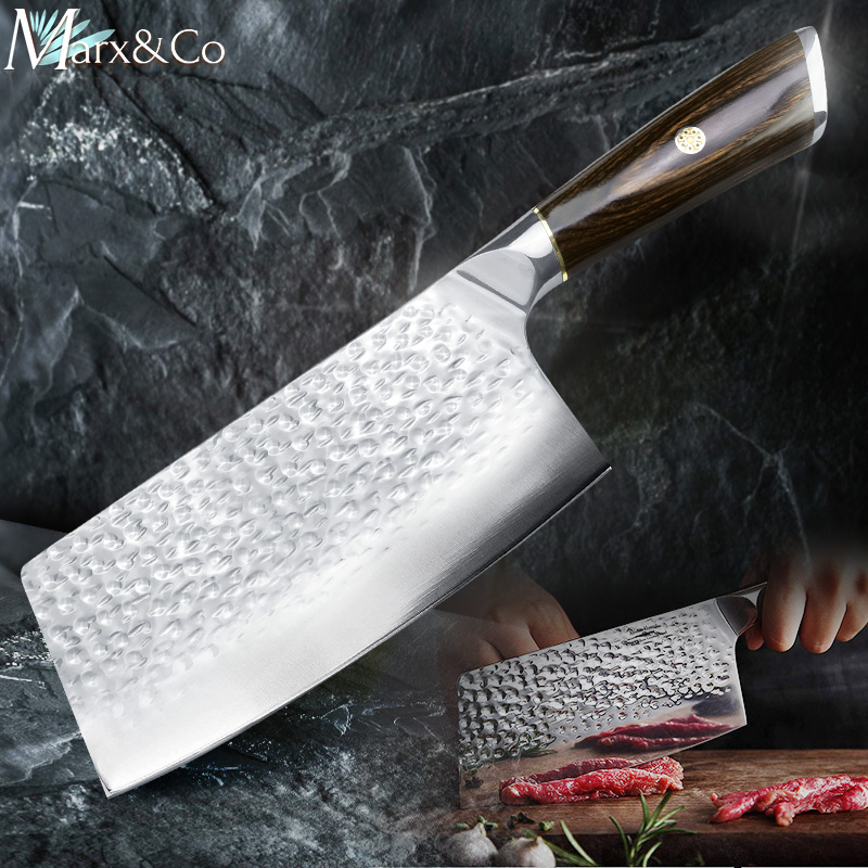 Кухонный нож 7 дюймов китайский Кливер 7CR17 440C кованая нержавеющая сталь Полный Тан Чоппер шеф-повар Мясник Мясо Santoku Vege слайсер