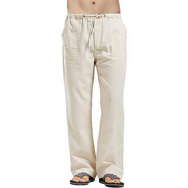 Beach Mens Cotton Linen Straight Pant Slim Fit Elastic Waist Casual New Trousers