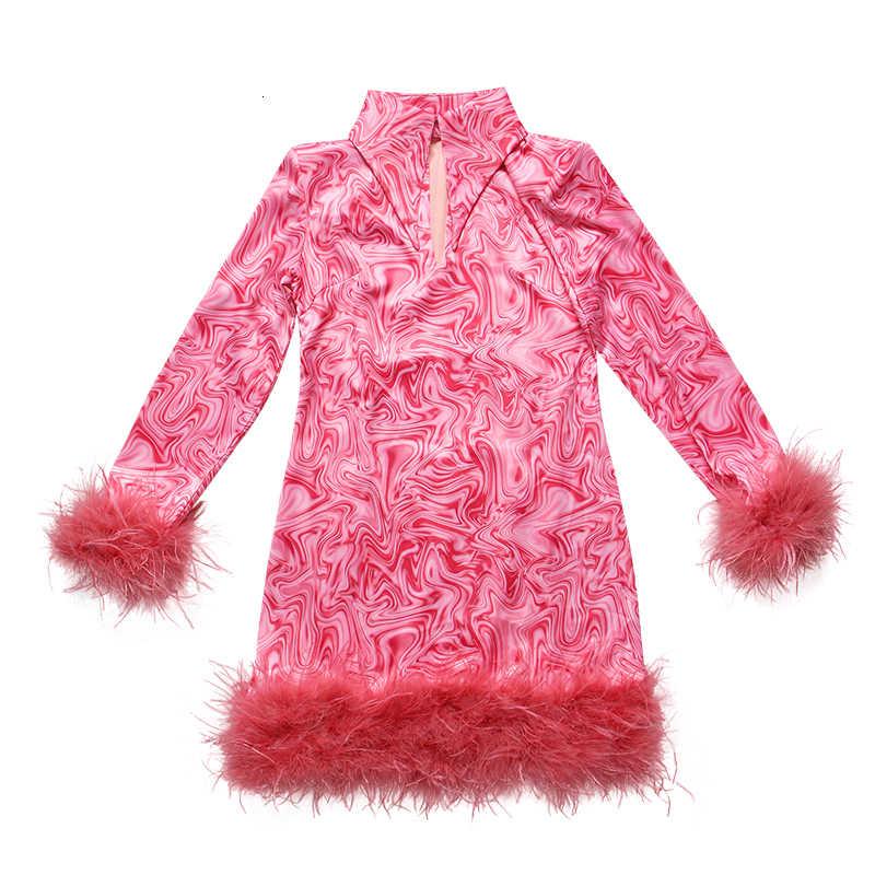 TWOTWINSTYLE Print Patchwork Veren vrouwen Jurk Revers Kraag Lange Mouwen Tassel Mini Jurken Vrouwelijke 2019 Herfst Mode Nieuwe