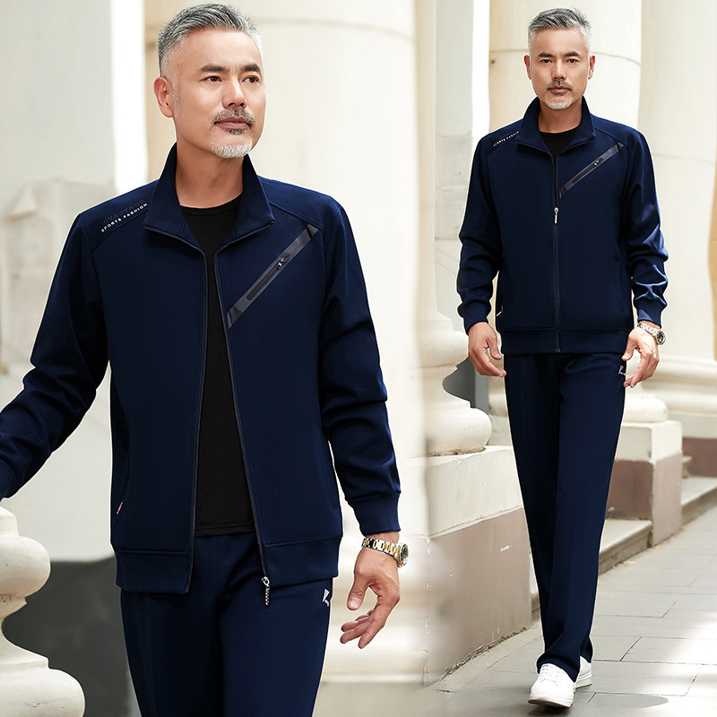 Middle-aged Elderly Sports Suit Men's Spring And Autumn Father Casual Large Three-Piece Daddy Clothes Men's Hoodie Sportswear