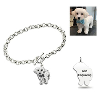 Personalized Pet Cat Dog Photo Bracelets Silver Bangles Engrave Name Words Bracelet Women Men Pulsera Jewelry Memorial Gift