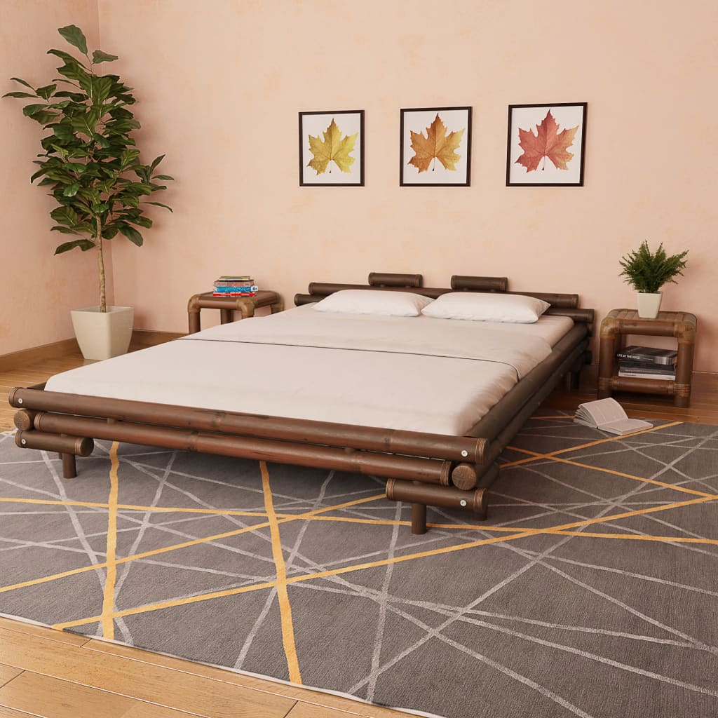 VidaXL Bed Frame Dark Brown Bamboo 160x200 Cm