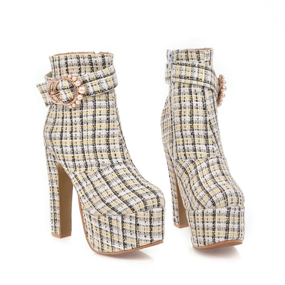 BLXQPYT Ladies Big Size 31-48 Short Woman Mujer Ankle <font><b>Boots</b></font> Sexy Super High <font><b>Heels</b></font> <font><b>14</b></font> <font><b>cm</b></font> Party Wedding Women Shoes Pumps 66-5 image