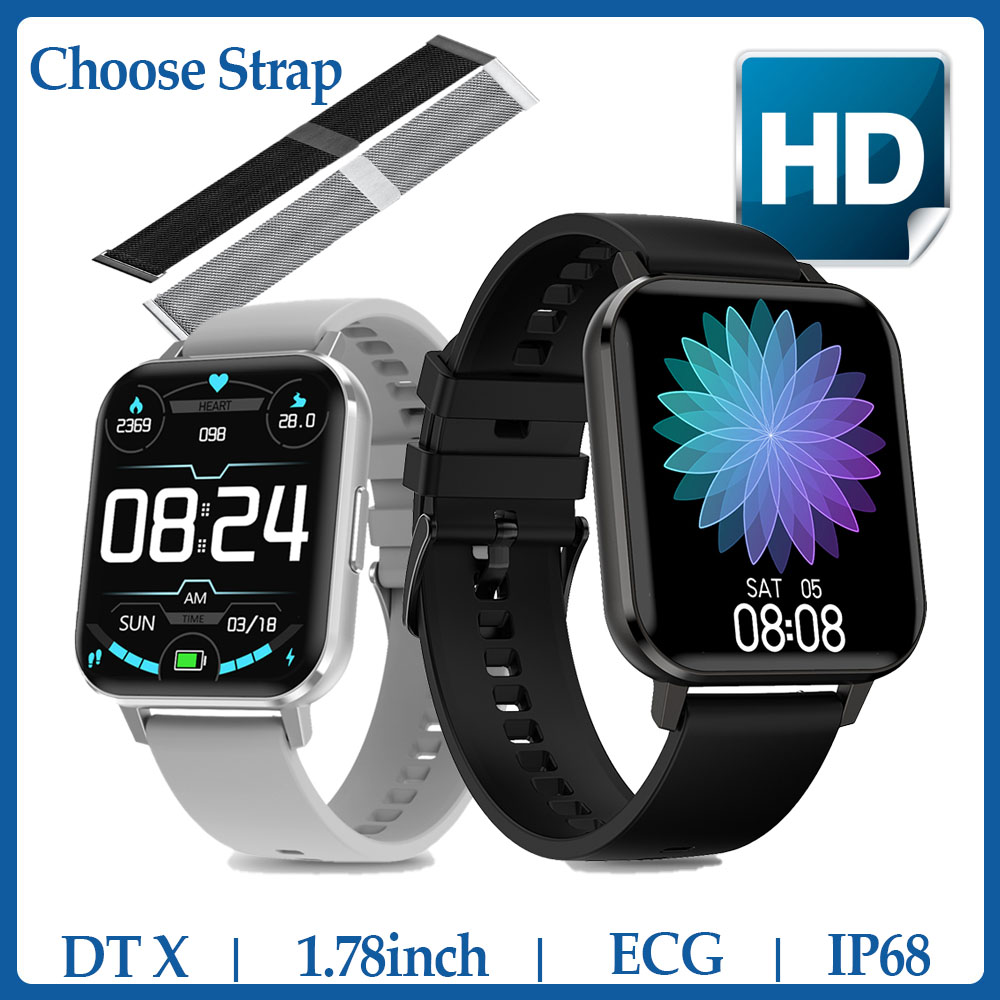 <font><b>NO</b></font>.<font><b>1</b></font> <font><b>DT</b></font> X Smart Watch IP68 Waterproof <font><b>1</b></font>.78inch Colorful Screen ECG Heart Rate Sleep Monitor VS P8 DT35 <font><b>SmartWatch</b></font> Men image