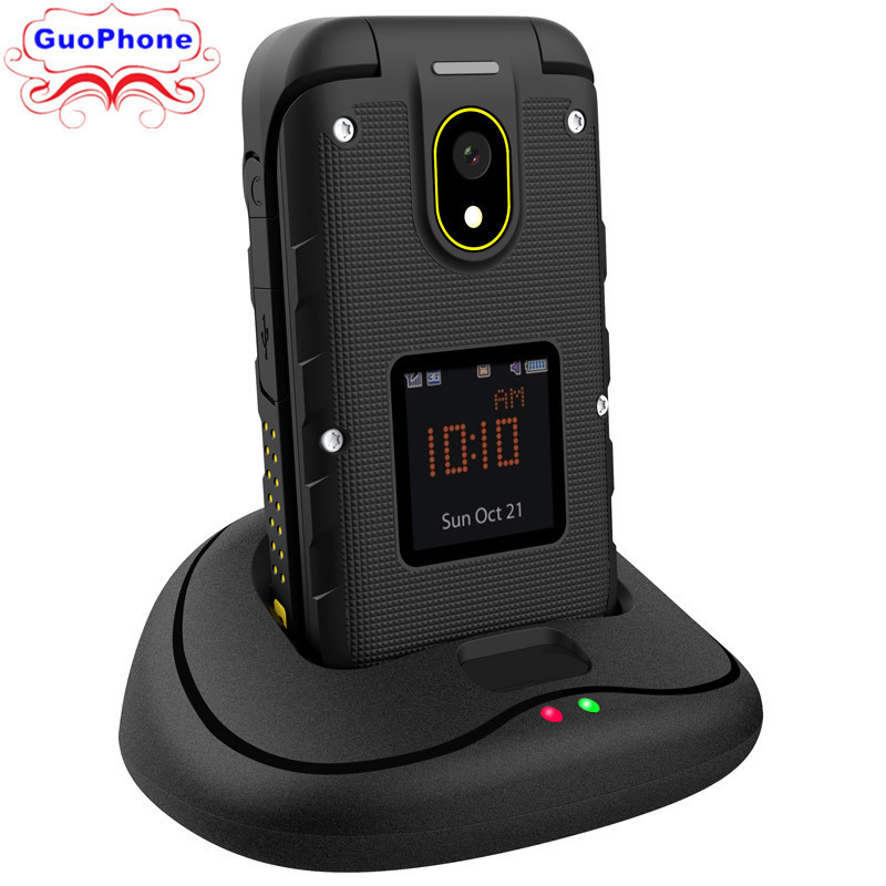 Ioutdoor F2 Rugged Waterproof 2.4 Feature Slim Flip Dual Display Docking Station SOS Torch LED Senior Three-Prevention Phone image