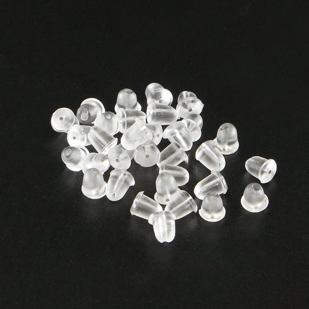 500Pcs Soft Clear Silicone Earring Safety Back Plugs Stoppers Ear Post Nuts UP