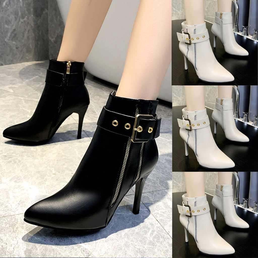 Stiletto yüksek topuk yarım çizmeler kadın sivri burun toka askı çıplak çizmeler düz renk rahat fermuar kısa patik botas mujer