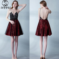 Skyyue Sexy Sling Cocktail Dress 2019 Crystal Mini Cocktail Dresses Sequin Women Party Gown Sleeveless V Neck Cocktail Gown H101