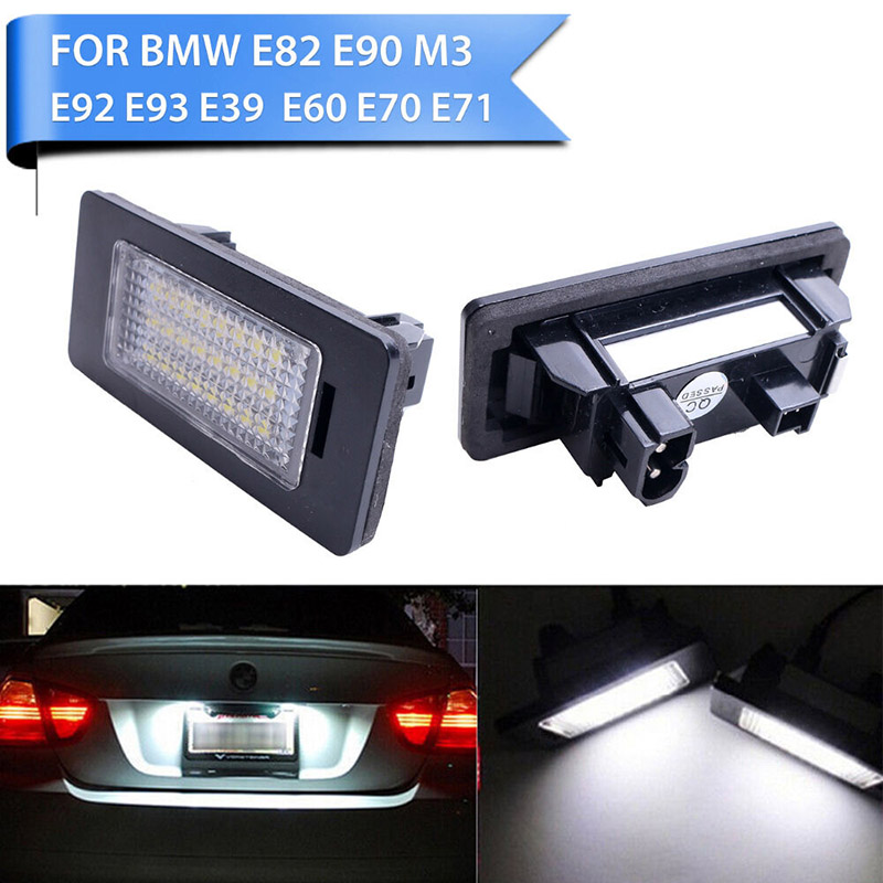 1Pair/2PCS Car License Plate Number Llight Lamp 6000k Fit for BMW E39 E82 12V LED White Light Exterior Accessories Plastic