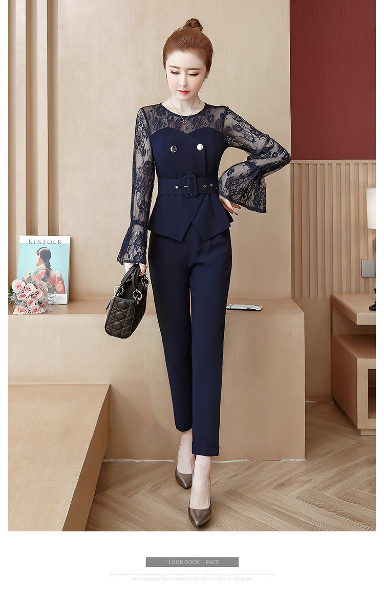 Blue Lace Office Two Piece Sets Outfits Women Plus Size Flare Sleeve Tops And Pants Suits Elegant Ladies Ol Style Korean Sets 41