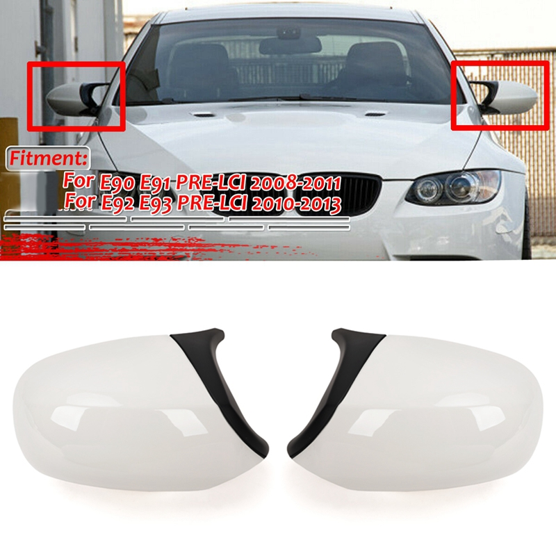 Gloss White M3 Style Rear View Mirror Cover Cap Replacement for BMW 3 Series E90 E91 E92 E93 LCI Facelifted 2010-2013 image