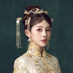 Image 4 - Traditional Chinese Hairpin Gold Hair Combs Wedding Hair Accessories Headband Stick Headdress Head Jewelry Bridal Headpiece Pin