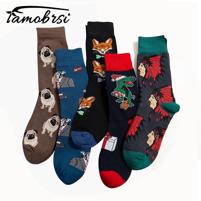 Animal Fox Pug Streetwear Skateboard Funny Cartoon Pattern Novelty Winter Female Cotton Socks Warm Short Happy Women Men Socks