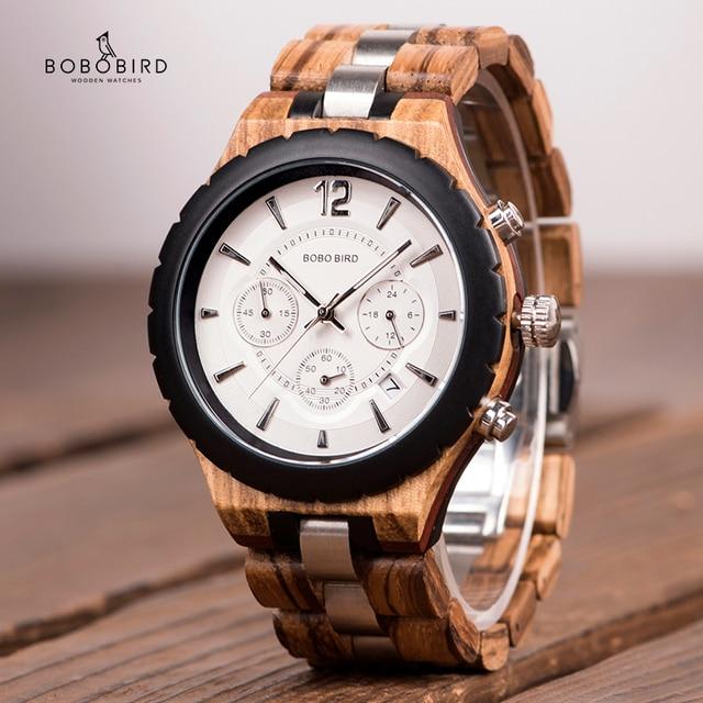 Bobo Vogel Mannen Horloges Luxe Elegante Houten Metalen Chronograph Auto Datum Horloge Relojes Hombre 2020 Vaderdag Dropshipping Gift