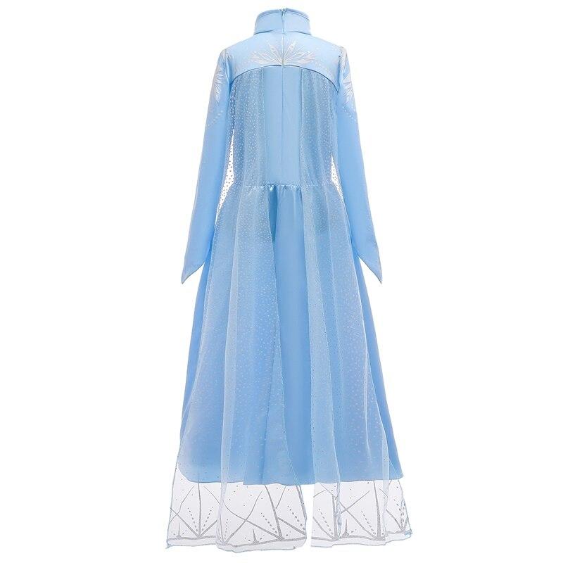 New Snow Queen Elsa 2 Christmas Dress Kids Halloween Carnival Costume Girls Crystal Light Blue Long Sleeve Princess Dress 5