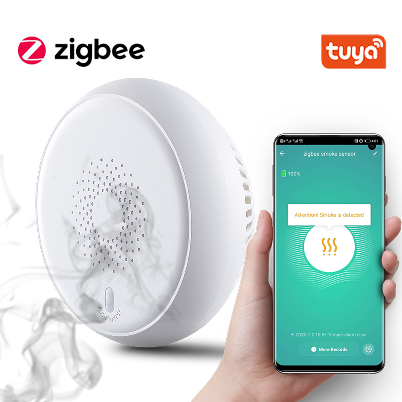 Tuya Smart Zigbee Smoke Detector Smart Fire Alarm Progressive Sound Photoelectric Smoke Sensor Work With Tuya Zigbee Hub