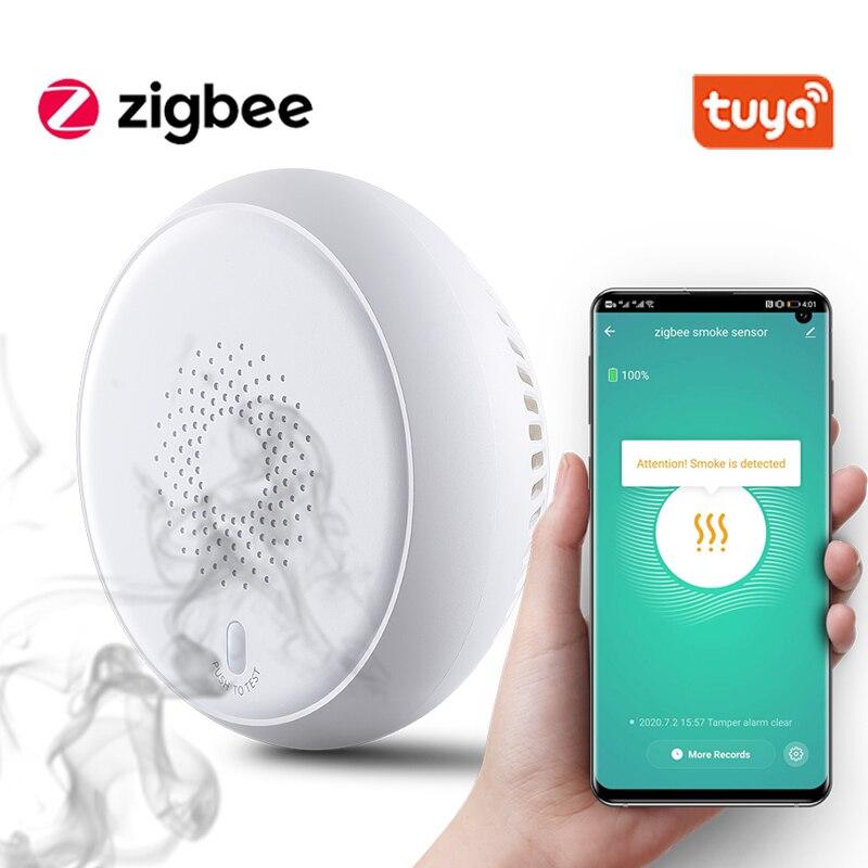 Tuya Smart датчик дыма Zigbee Smart пожарной сигнализации прогрессивный звук фотоэлектрический датчик дыма Сенсор работать с Tuya Zigbee концентратор