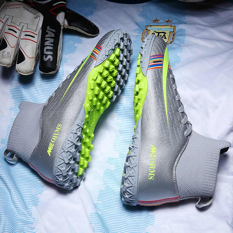 Futbol kramponları erkekler futbol ayakkabıları Cleats ayak bileği uzun sivri TF sivri yüksek Top Sneakers yumuşak kapalı çim Futsal çocuk futbol ayakkabıları
